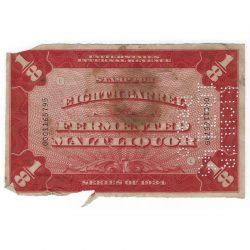 1934 United States Internal Revenue Stamp 1/8 Barrel Fermented Malt Liquor