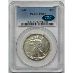 1942 Liberty Walking Half Dollar 50C Proof PR 65 PCGS CAC Approved
