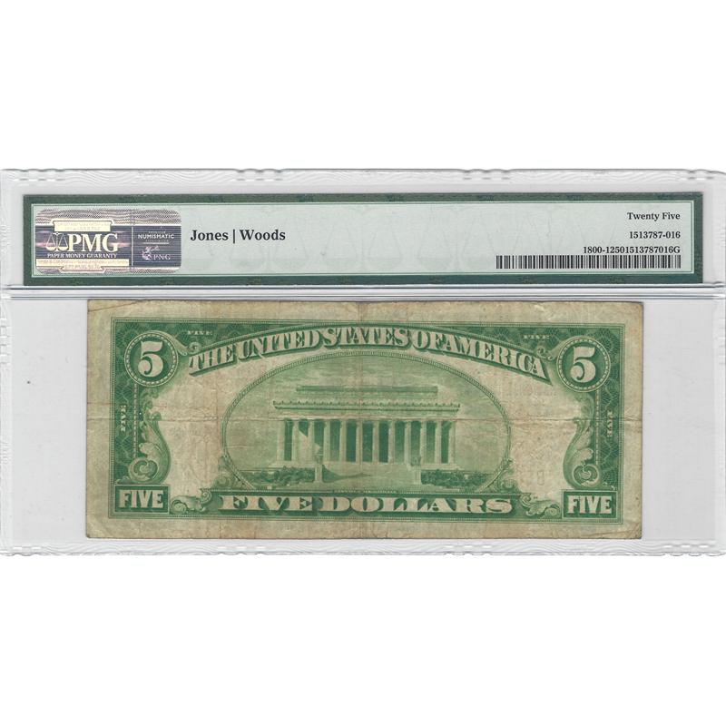 $5 1929 Ty1 National Bank Note Clayton Missouri Ch#12333 Fr#1800-1 PMG VF25
