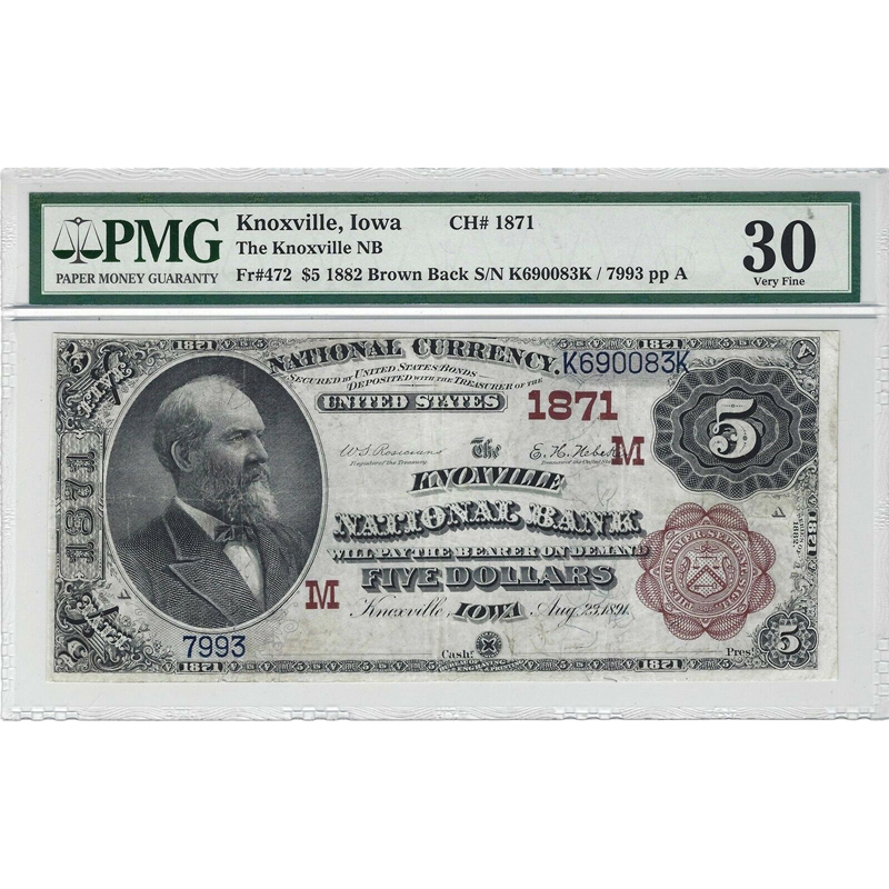$5 1882 Brown Back Knoxville, IA Fr.472 Ch#1871 PMG VF30 National Bank Note