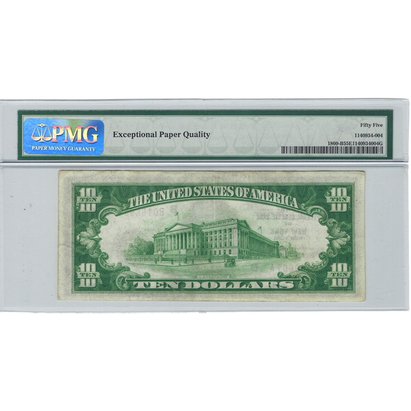 $10 1929 Federal Reserve Bank Note New York Fr#1860-B PMG AU55 EPQ