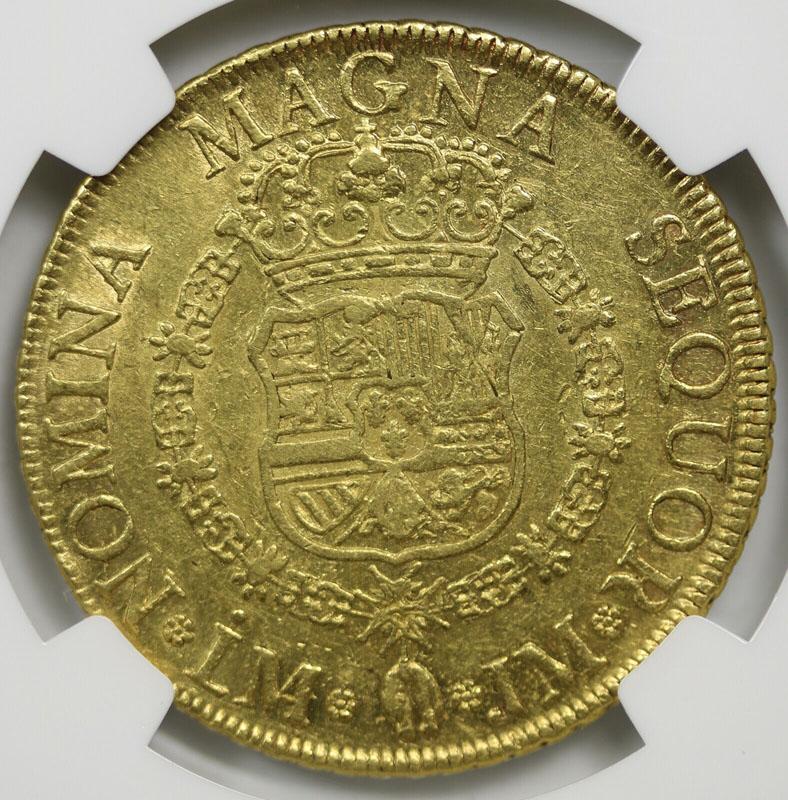 1758 LM JM Peru 8 Escudos NGC AU58