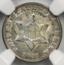 1851-O 3CS Three Cent Trime NGC AU58