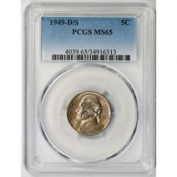 1949-D/S 5C Jefferson Nickel PCGS MS65