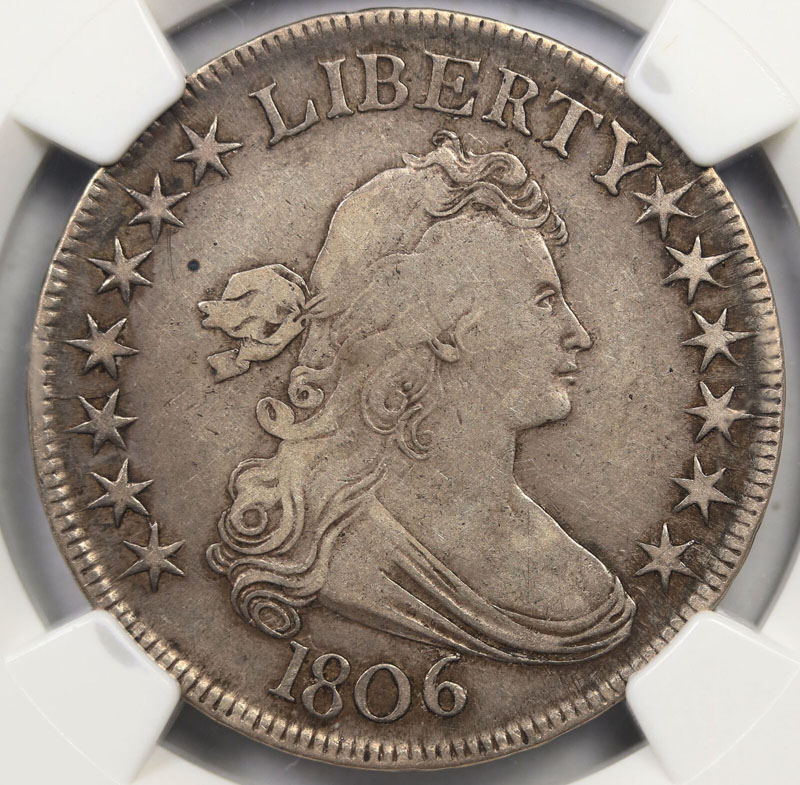 1806 50C Pointed 6 With Stem O-120 Draped Bust Half Dollar NGC XF40