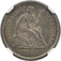 1868 H10C Liberty Seated Half Dime NGC AU55