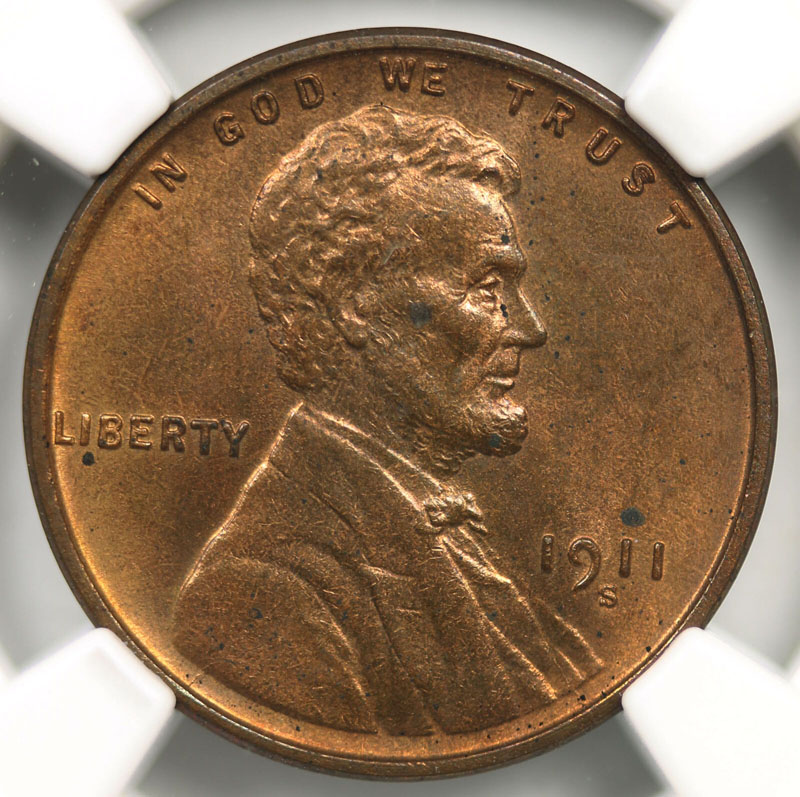 1911 S 1c Lincoln Wheat Penny 1c Ngc Ms62 Rb Sg Rare Coins