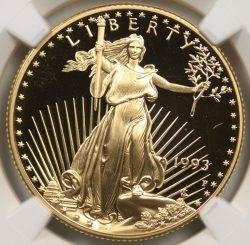 1993-P $25 American Gold Eagle 1/2 oz NGC PF70 Ultra Cameo