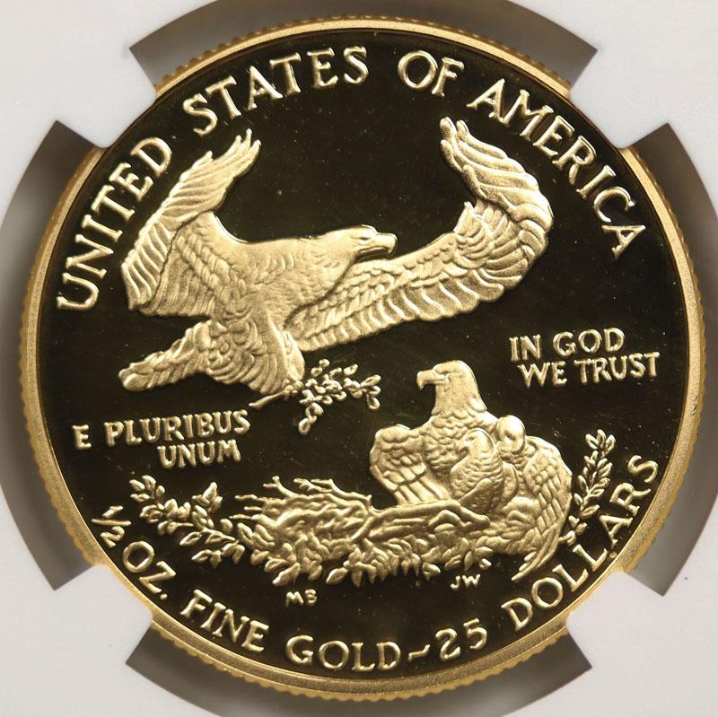 1993-P $25 American Gold Eagle 1/2 oz NGC PF70 Ultra Cameo