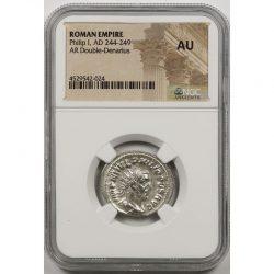 Ancient Roman Empire Philip I, AD 244-249 AR Double-Denarius NGC AU