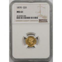 1870 $1 Indian Princess Large Head Dollar NGC MS61