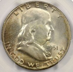 1951 50C Franklin Half Dollar PCGS MS66+