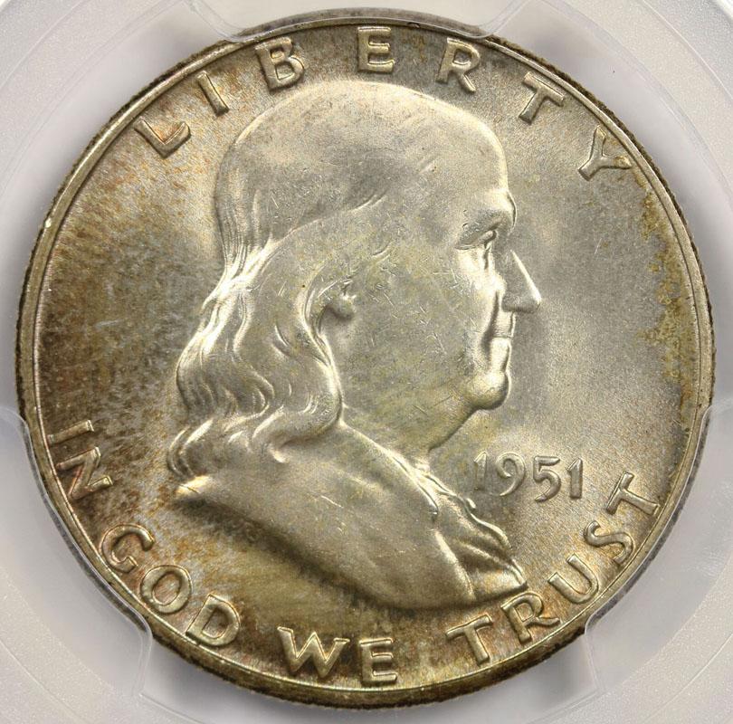 1951 50C Franklin Half Dollar PCGS MS66+