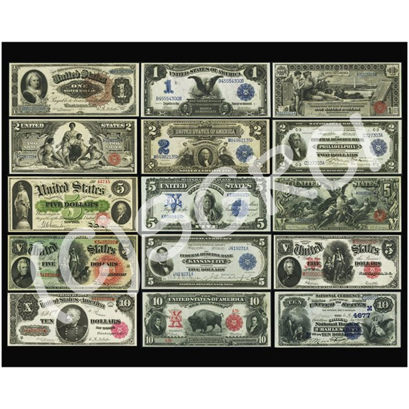 "United States Large Size Currency Paper Money Poster 16"" x 20"""
