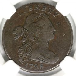 1798 2nd Hair Flowing Hair 1c Large Cent S-182 NGC VG25BN