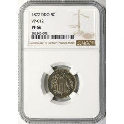 1872 DDO Proof 5c Shield Nickel VP-012 NGC PF66