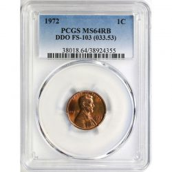 1972 DDO 1c Lincoln Cent FS-103 (033.53) PCGS MS64RB