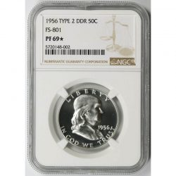 1956 Type 2 DDR FS-801 50C Franklin Half Dollar NGC PF69*