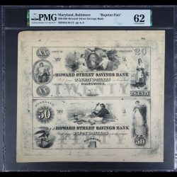 $20-$50 Howard Street Savings Bank Baltimore Maryland Reprint Pair PMG UNC 62