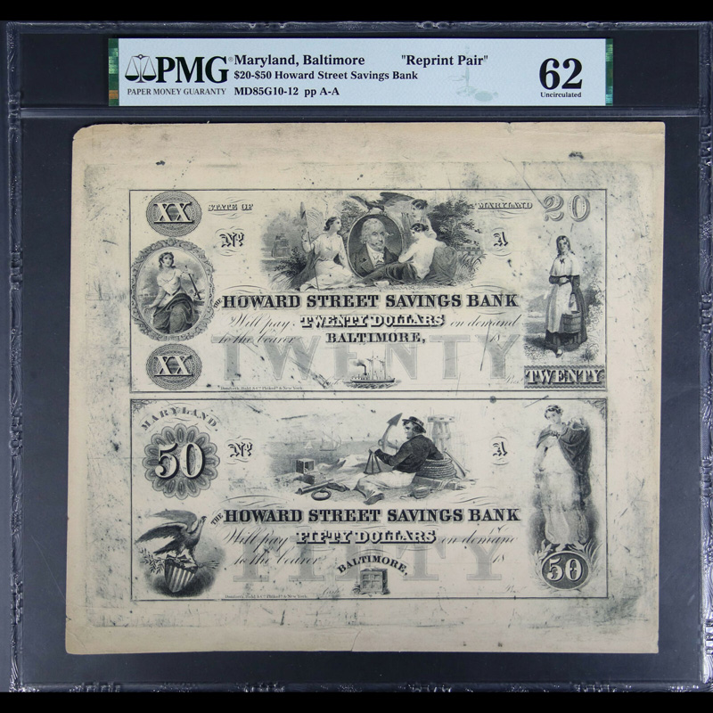 $20-$50 Howard Street Savings Bank Baltimore Maryland Reprint Pair PMG UNC 62