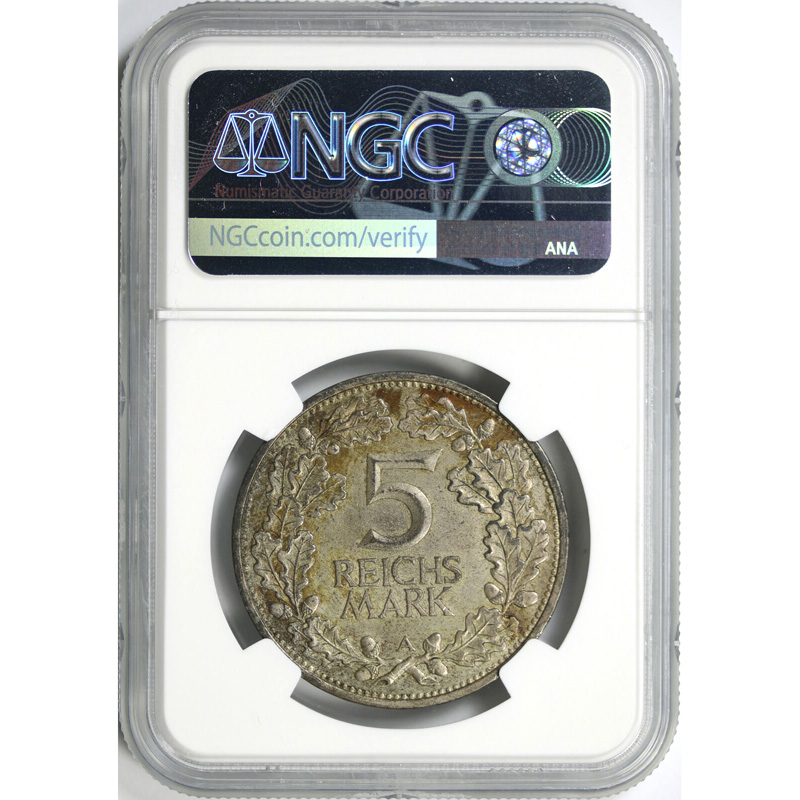 1925-A Germany Rhineland Silver 5 Mark NGC AU Details Reverse Cleaned
