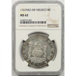 1767MO MF Mexico 8R 8 Reales NGC MS62