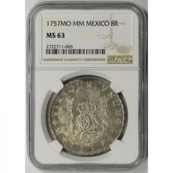 1757MO MM Mexico 8R 8 Reales NGC MS63