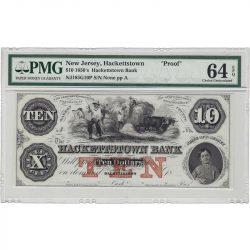 $10 1850s Hackettstown Bank, New Jersey PMG Choice Unc 64 EPQ Obsolete Proof