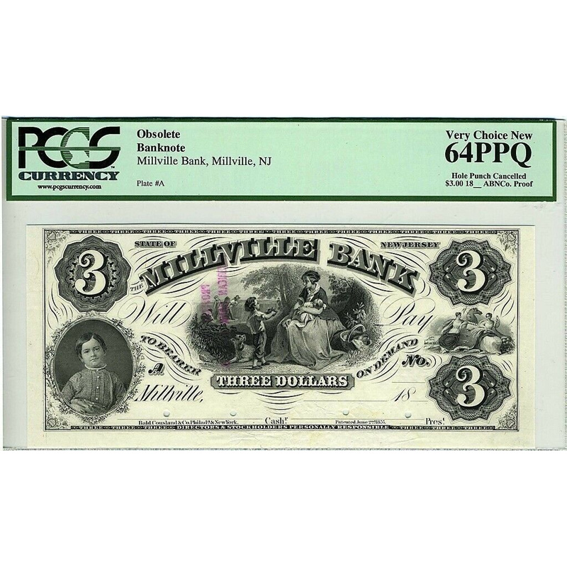 $3 Proof 18xx The Millville Bank New Jersey PCGS VCN64 PPQ Obsolete Banknote