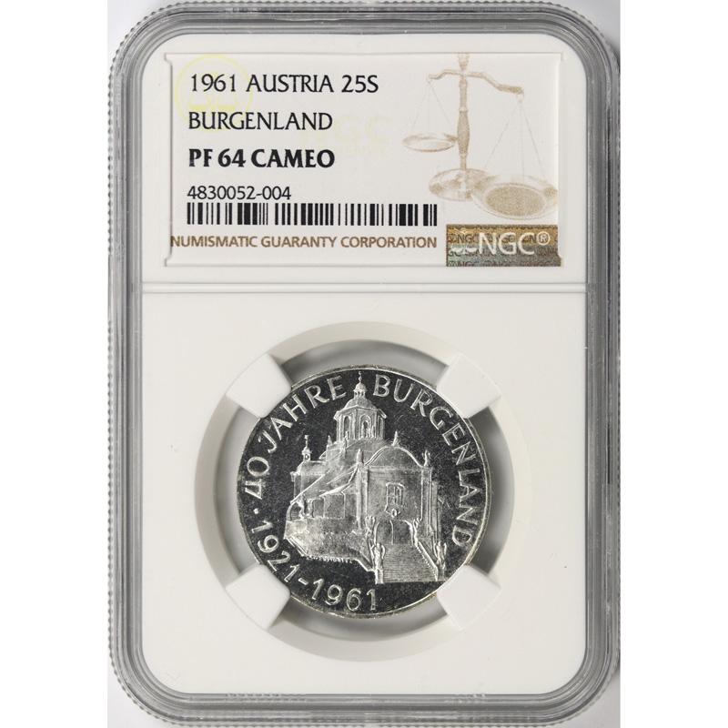 1961 Austria Silver 25 Schilling NGC PF64 Cameo Burgenland