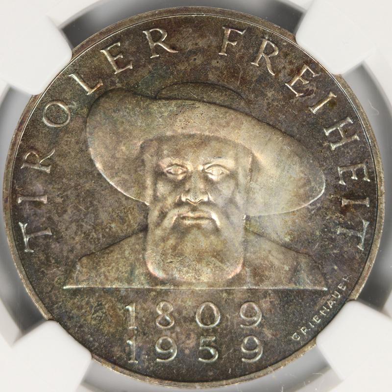 1959 Austria Silver 50 Schilling NGC PF66 Liberation of Tyrol