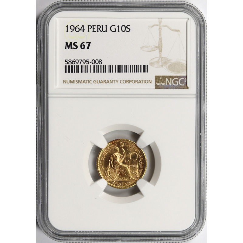 1964 Peru Gold 10 Soles NGC MS67