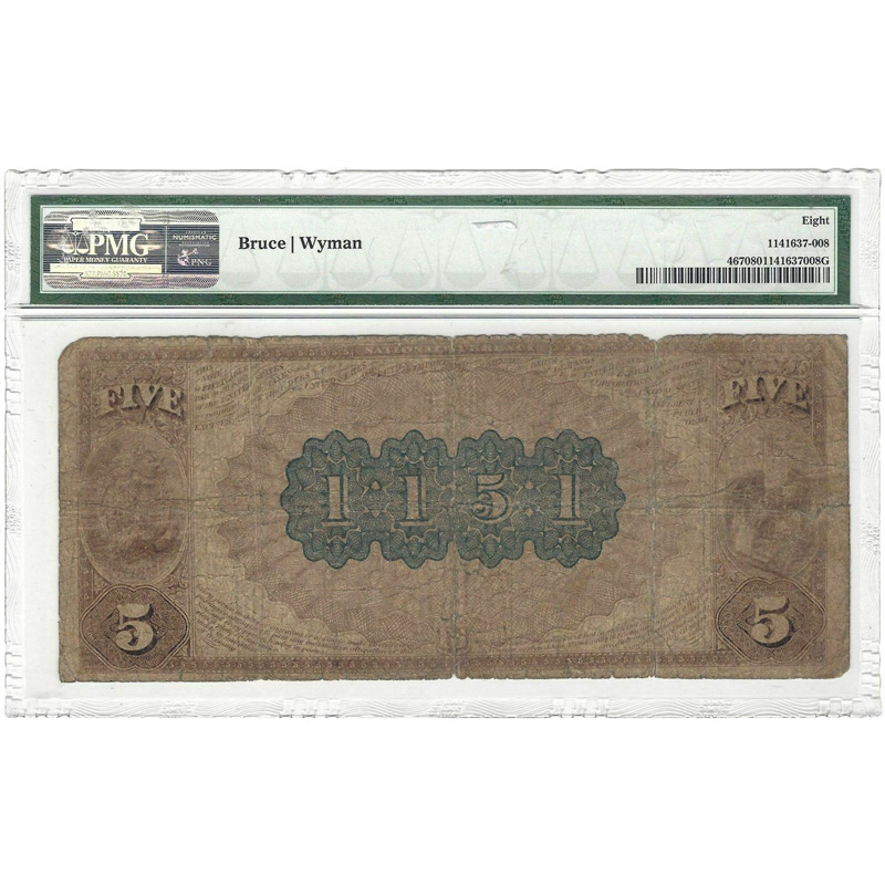 $5 1882 Brown Back Providence, Rhode Island PMG 8 Very Good