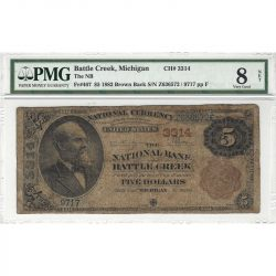 $5 1882 Brown Back Battle Creek, Michigan PMG 8 Very Good Net