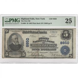 $5 1902 Highland Falls, New York PMG 25 Very Fine