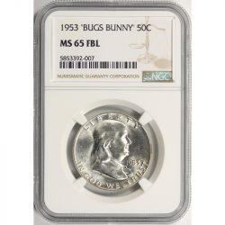 1953 Bugs Bunny 50c Franklin Half Dollar NGC MS65FBL