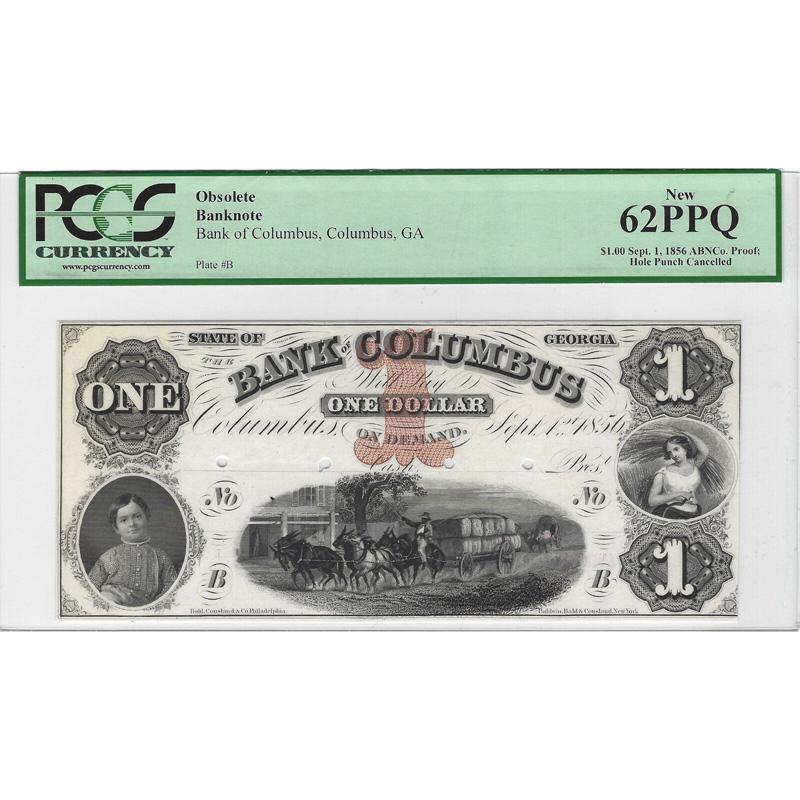$1 18__ Obsolete Bank Note Bank of Columbus, Columbus Georgia PCGS 62 PPQ