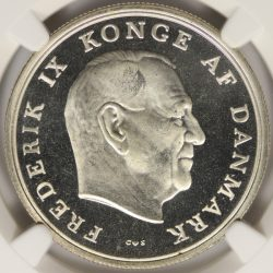 1964 C S Silver Denmark Silver 5 Kroner NGC MS67PL Wedding of Anne Marie
