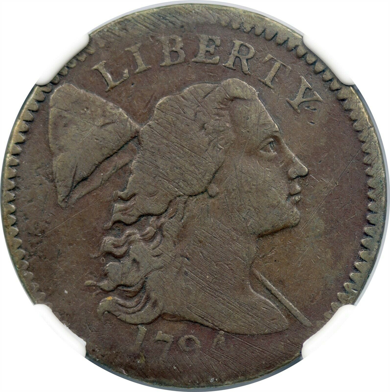 1794 Head of 94 S-45 1C Liberty Cap Large Cent VF Details Obv Damage